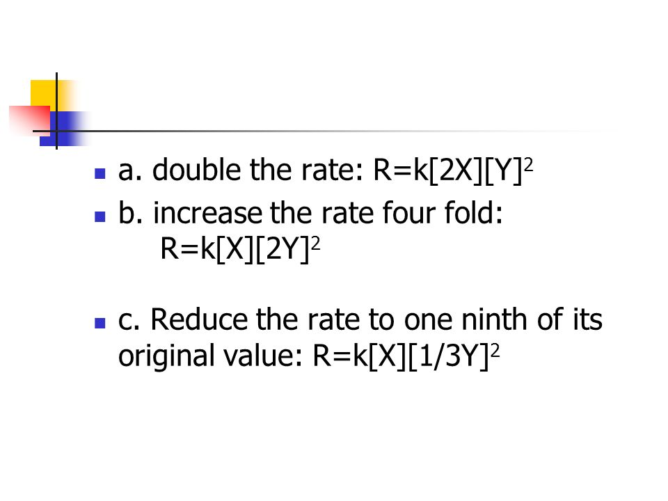 a. double the rate: R=k[2X][Y]2
